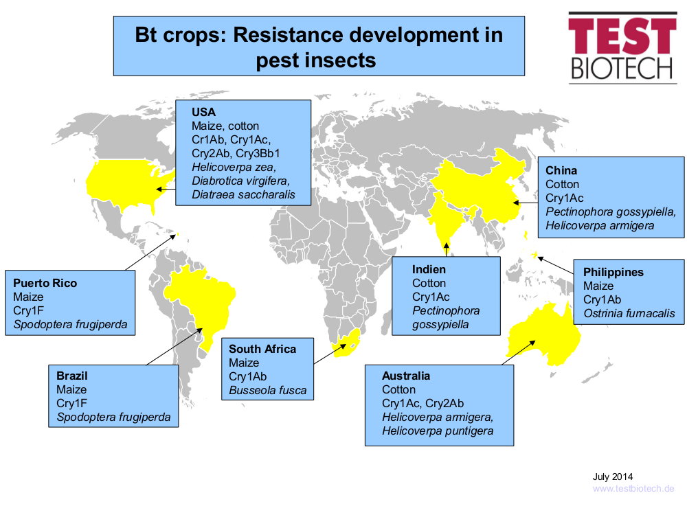 Map of bt resistance 2014